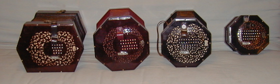 picture of four sizes of English concertina